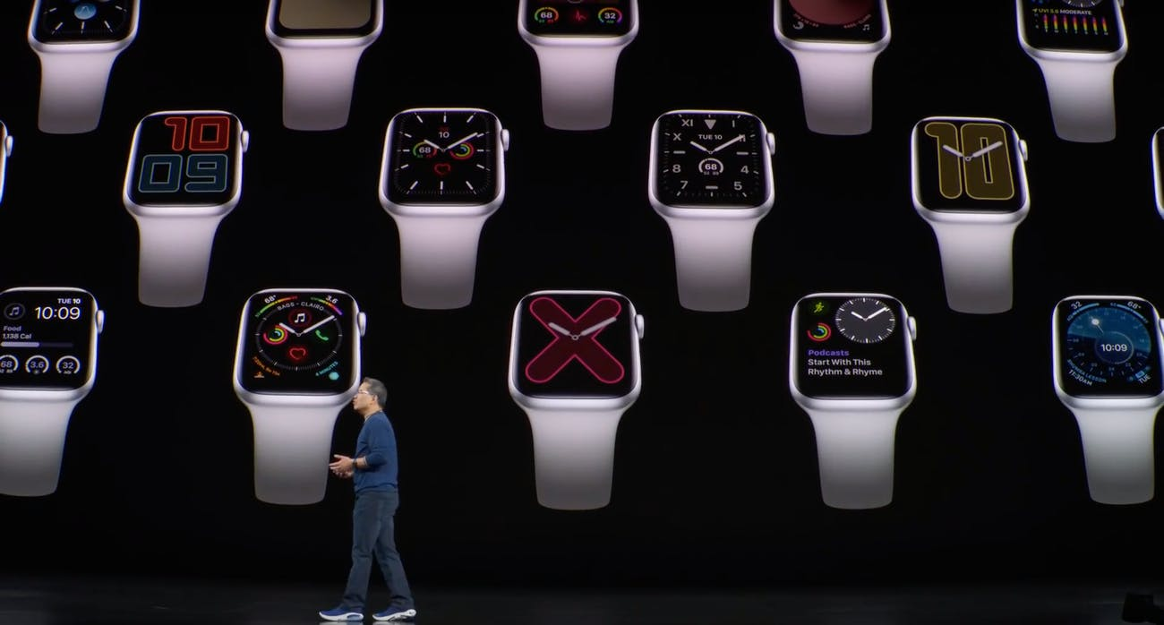 The watch faces in ambient mode.