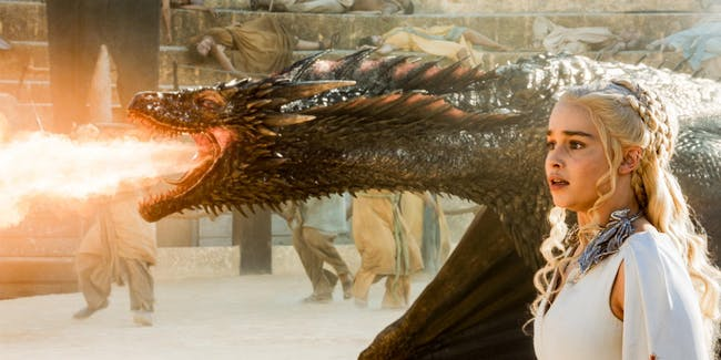 Emilia Clarke and her dragon pal in 'Game of Thrones'