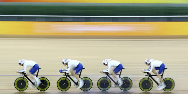 BEIJING - AUGUST 17:  Ed Clancy, Paul Manning, Geraint Thomas and Bradley Wiggins of Great Britain compete in the men's team pursuit track cycling event held at the Laoshan Velodrome during Day 9 of the 2008 Beijing  Summer Olympic Games on August 17, 2008 in Beijing, China.  (Photo by Nick Laham/Getty Images)