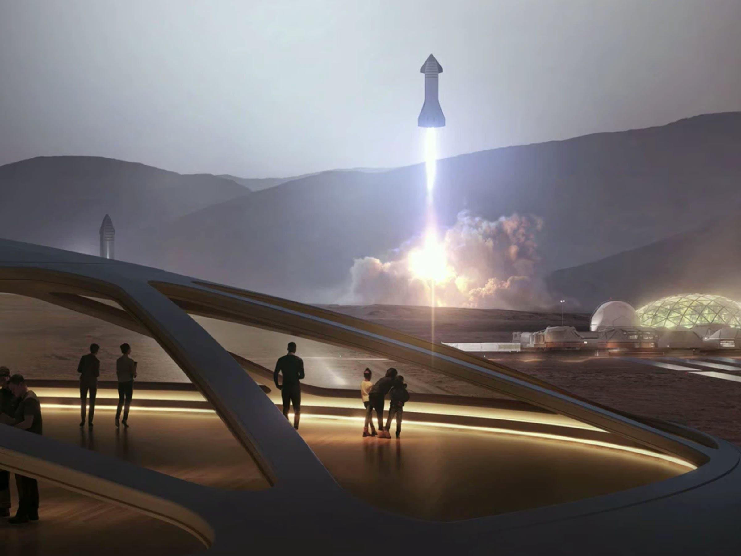 SpaceX Starship landing on Mars