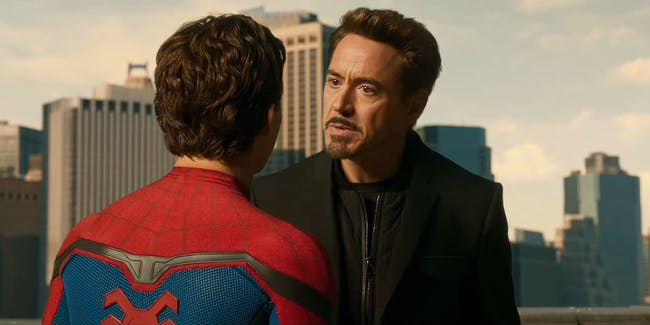 Peter Parker chats with Tony Stark in 'Spider-Man: Homecoming.'