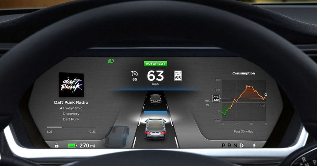 Tesla Autopilot offers a head-up display of how the car interprets the road.