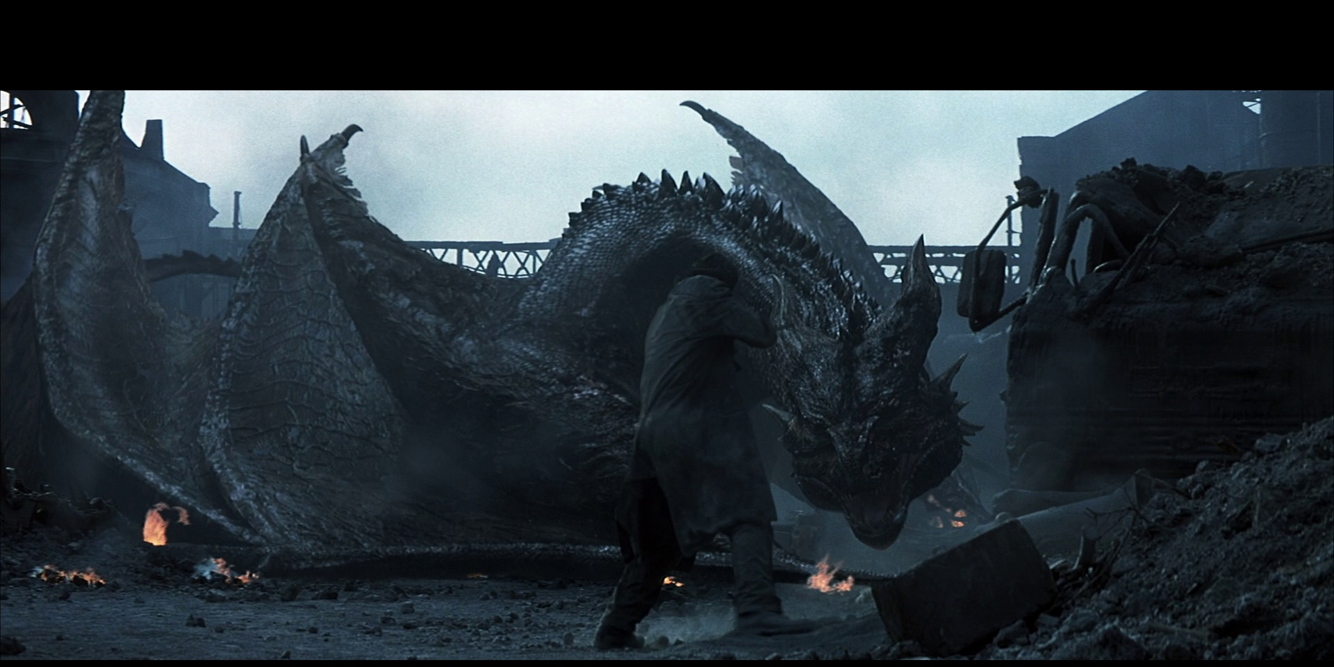 A scene from the epic showdown between man and dragon in Reign of Fire.