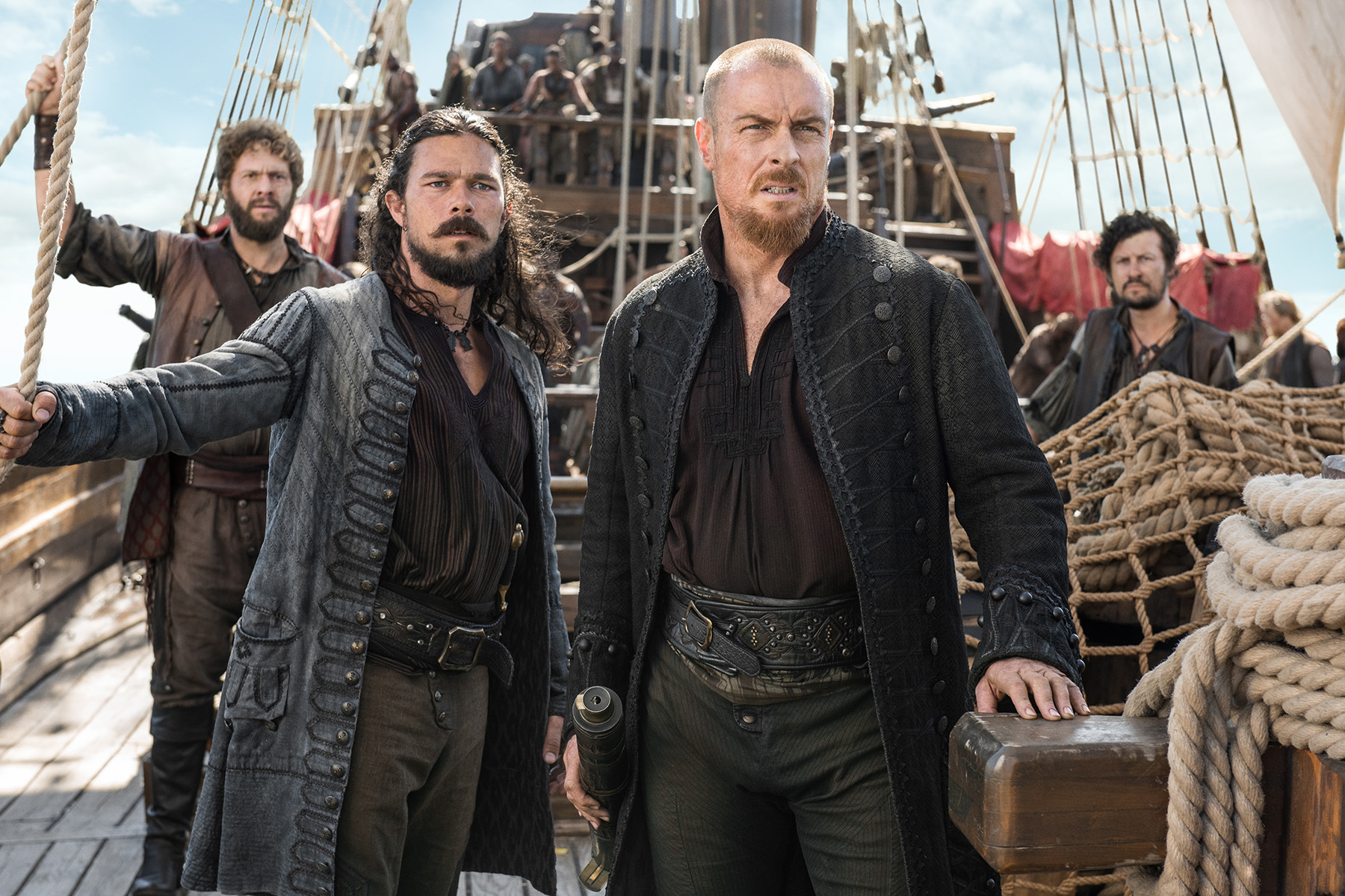 Luke Arnold as Silver and Toby Stephens as Flint on 'Black Sails'