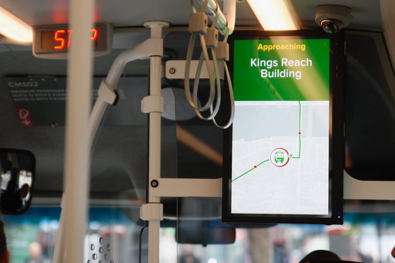 The smart screen displays a map overview of where the bus is located, alongside other information.