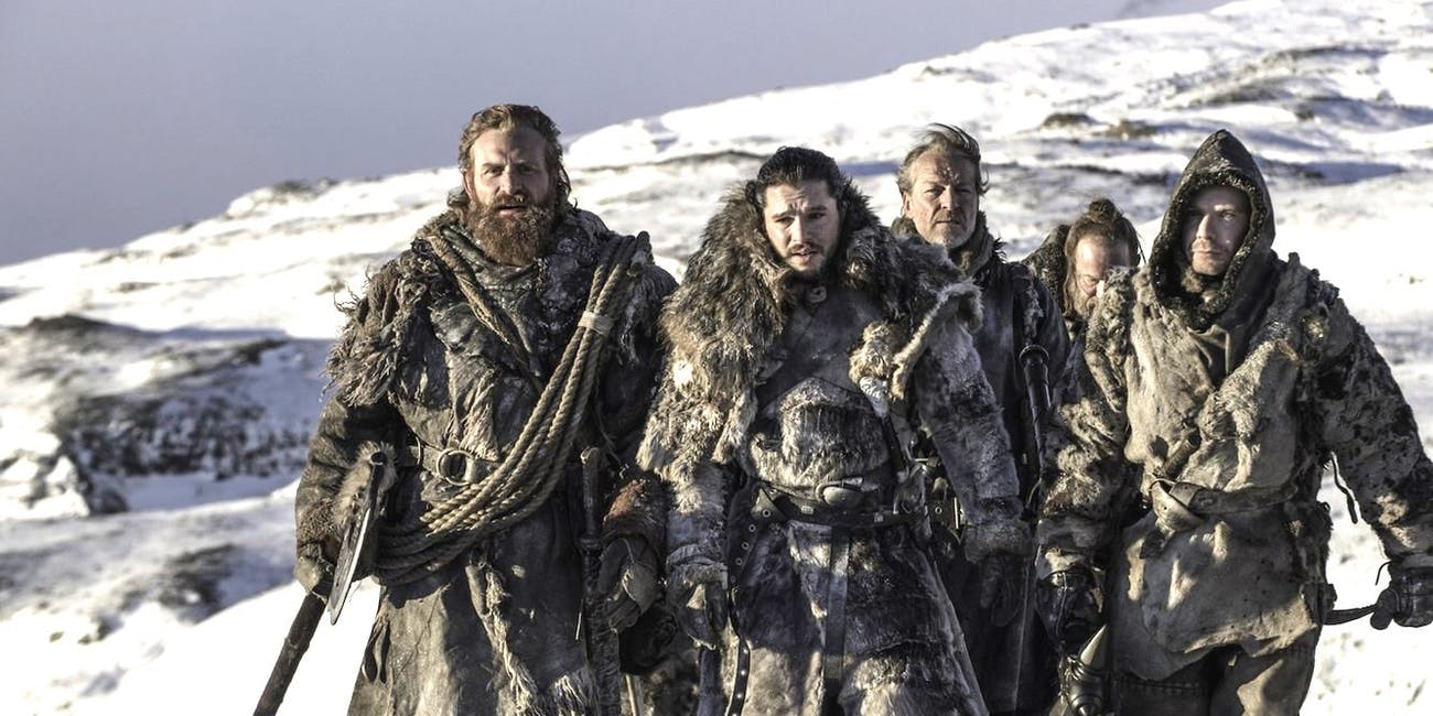 "Tormund, Jon Snow, Jorah Mormont, Thoros of Myr, and Gendry on 'Game of Thrones' Season 7 episode 6 ""Beyond the Wall"""