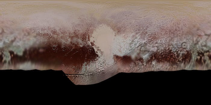Using data from New Horizons' flyby of Pluto, the team created a map of the dwarf planet's terrain.