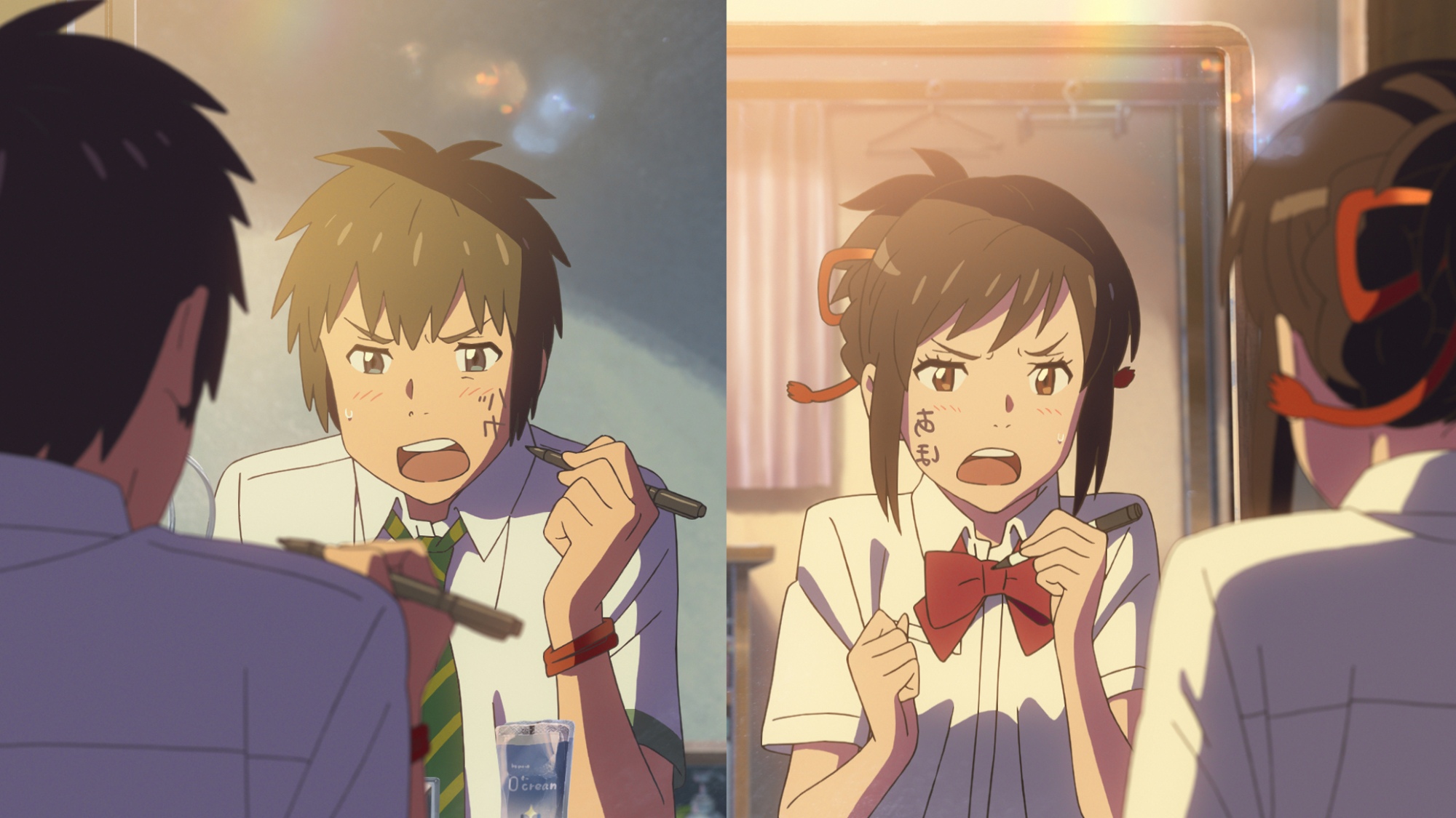 The protagonists in 'Your Name.' fight by writing on each other's faces when they've switched bodies.