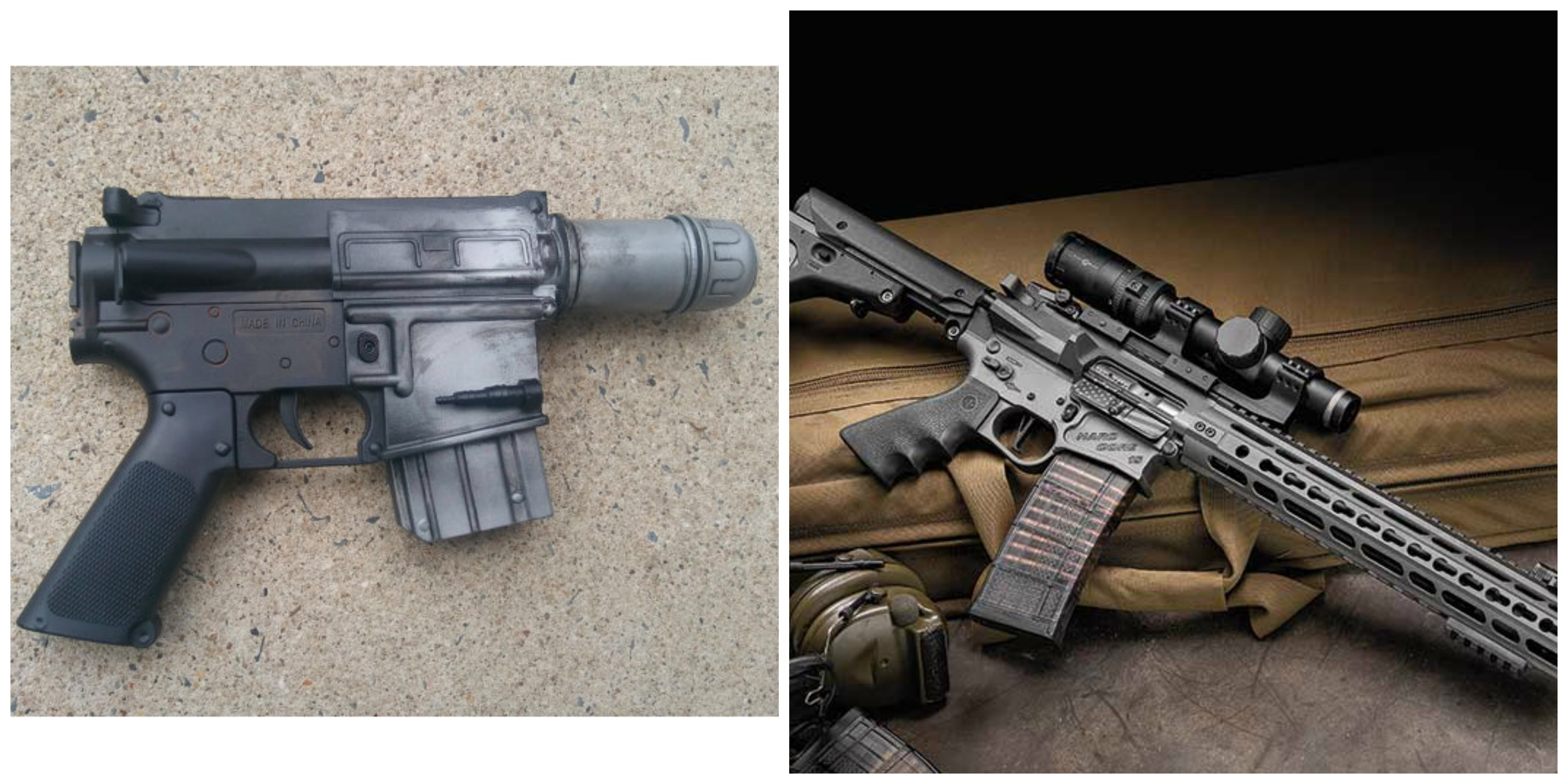 Left: Cassian Andor's blaster in 'Rogue One. Right: An AR-15