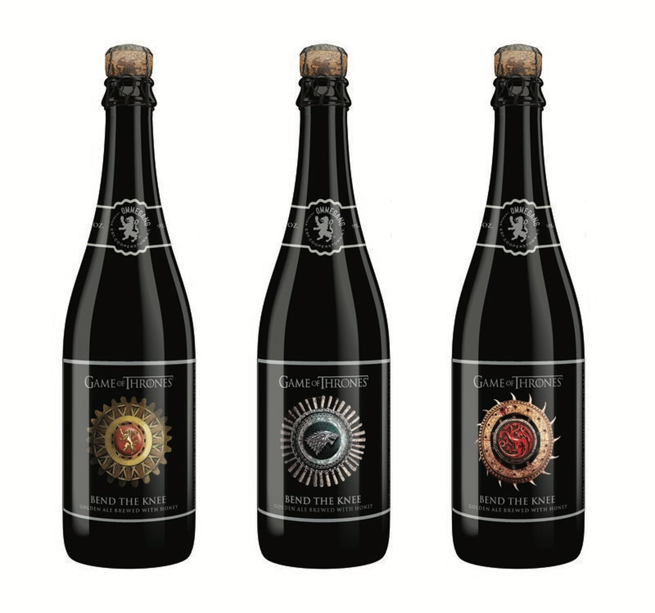 The three labels for Ommegang's new 'Game of Thrones' beer, Bend the Knee.