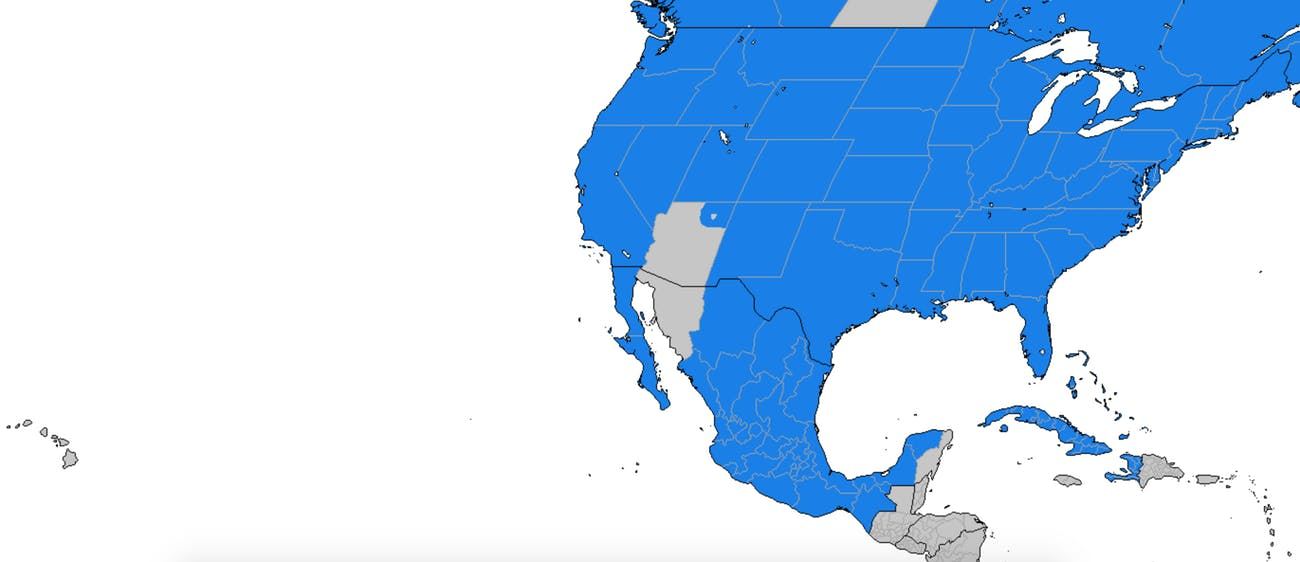 The light gray areas formerly used daylight saving time. The blue areas use daylight saving time.