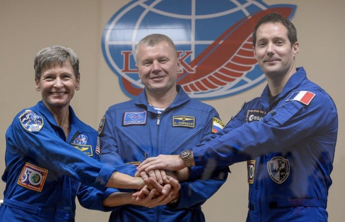 NASA astronaut Peggy Whitson, Russian cosmonaut Oleg Novitsky, and French astronaut Thomas Pesquet launched to space today.