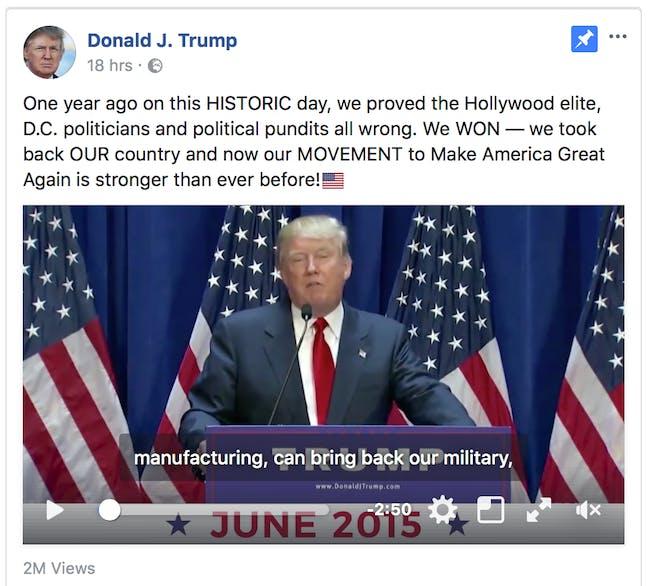 Donald Trump's Facebook page.