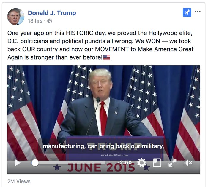 Donald Trump's Facebook page.