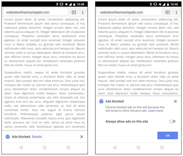 """Chrome will automatically block intrusive ads on sites that have been found to violate the Better Ads Standards, but users have the option to disable the feature by selecting """"allow ads on this site."""""""