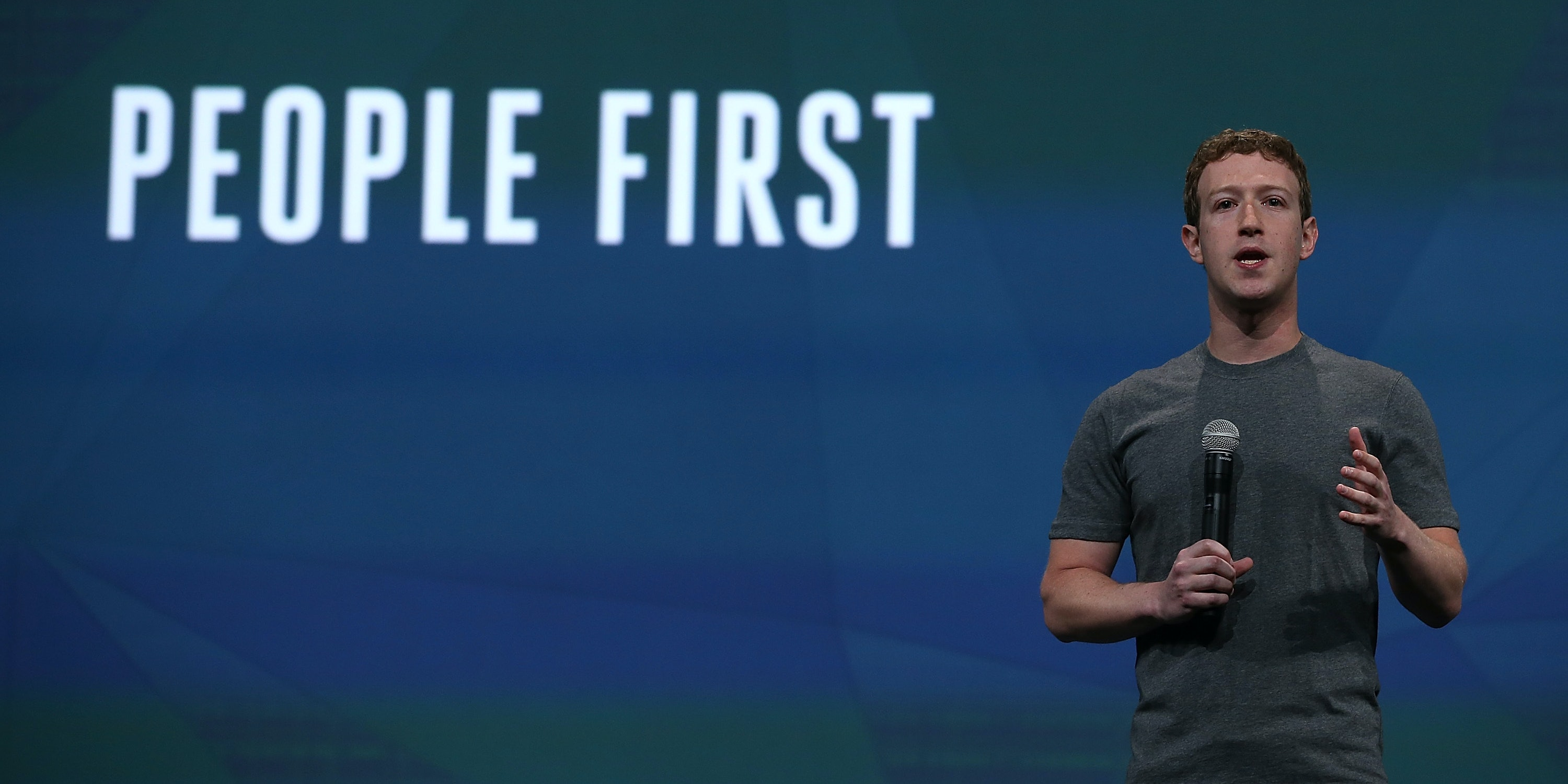 SAN FRANCISCO, CA - APRIL 30: Facebook CEO Mark Zuckerberg delivers the opening kenote at the Facebook f8 conference on April 30, 2014 in San Francisco, California. Facebook CEO Mark Zuckerberg kicked off the annual one-day F8 developers conference.