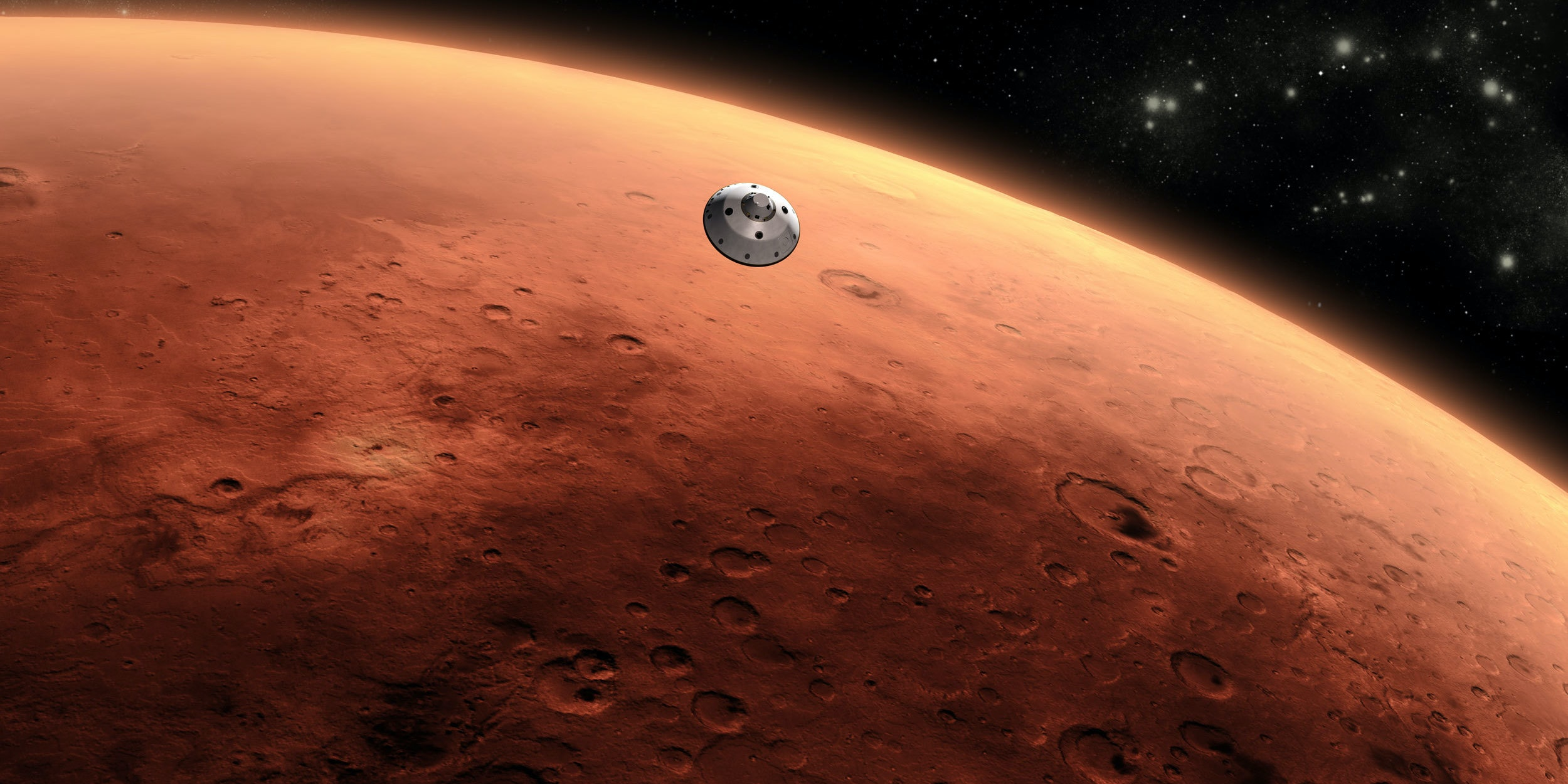 Artist's concept of a spacecraft approaching Mars.