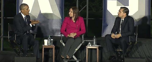 President Barack Obama, Dr. Katharine Hayhoe, and Leonardo DiCaprio talk climate change.