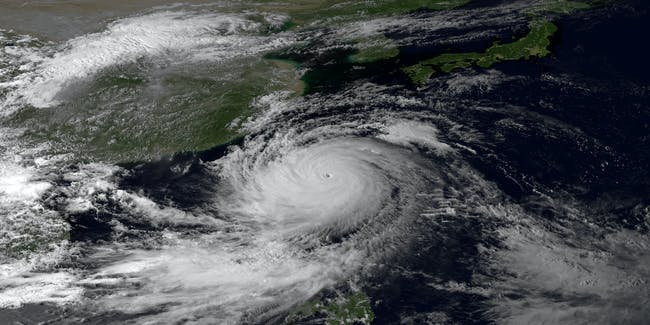 Typhoon hitting Asia