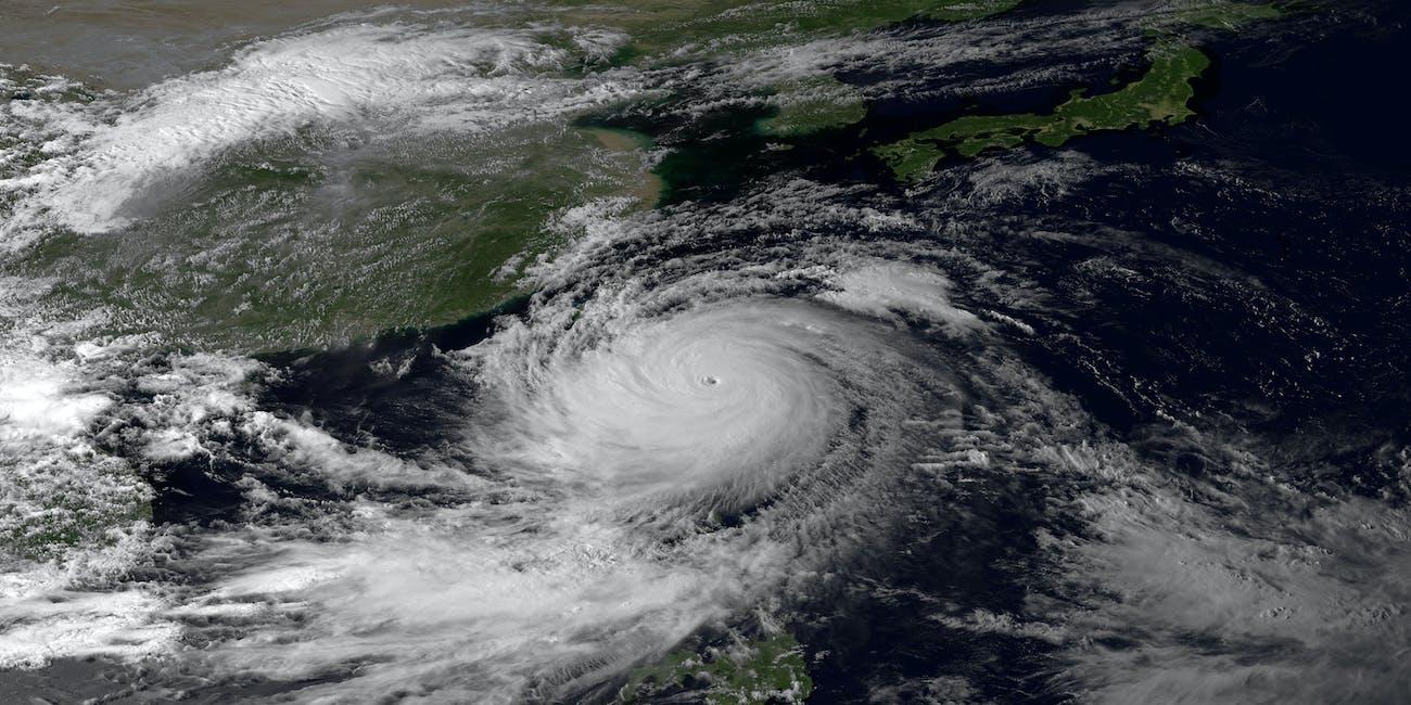 Typhoon hitting Asia