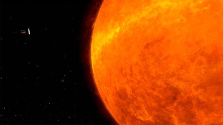 Illustration of Parker Solar Probe circling the Sun.