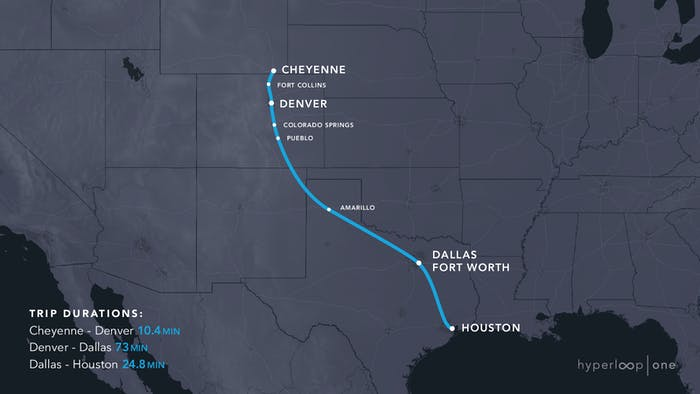 The Cheyenne to Houston route.