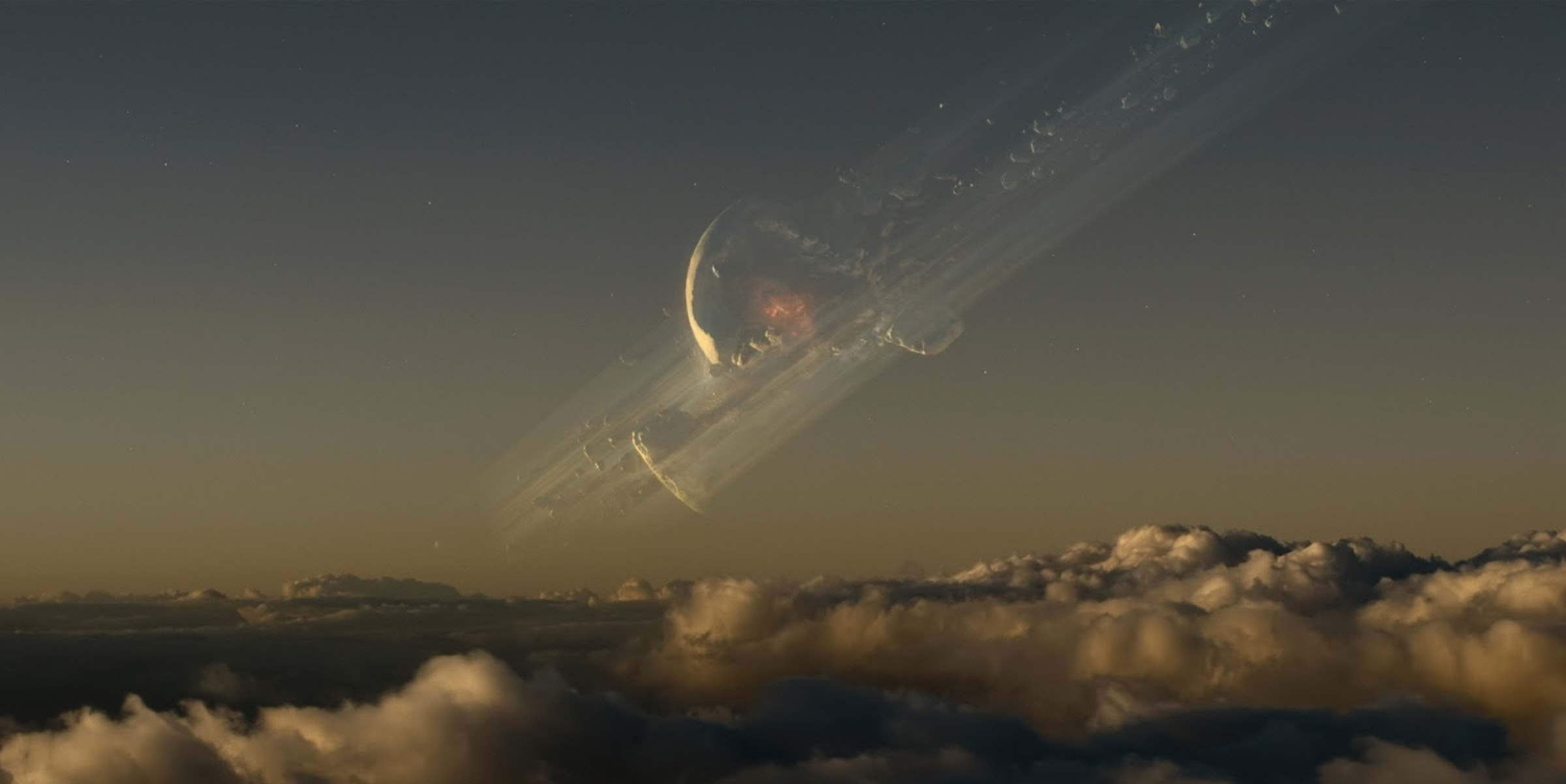 """A still from the movie """"Oblivion,"""" depicting a shattered moon."""