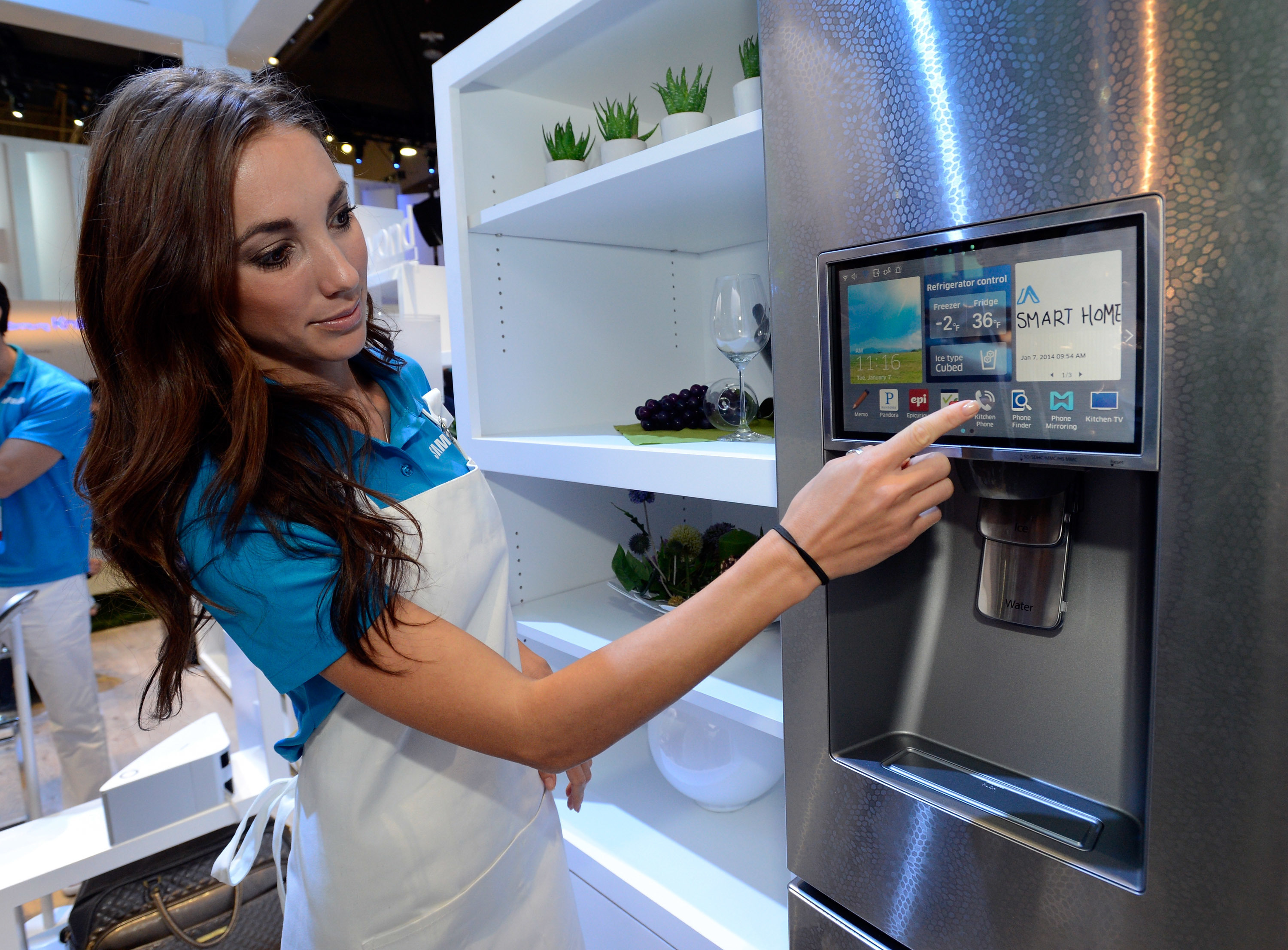 The connectivity feature on a Samsung smart refrigerator.