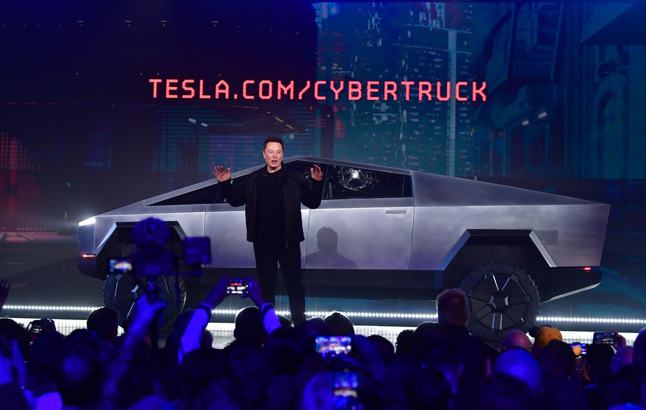 Elon Musk shows off the Tesla Cybertruck on Thursday, November 21, 2019.