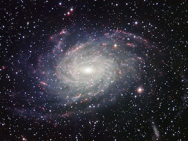 This picture of the nearby galaxy NGC 6744 was taken with the Wide Field Imager on the MPG/ESO 2.2-metre telescope at La Silla. The large spiral galaxy is similar to the Milky Way, making this image look like a picture postcard of our own galaxy sent from extragalactic space. The picture was created from exposures taken through four different filters that passed blue, yellow-green, red light, and the glow coming from hydrogen gas. These are shown in this picture as blue, green, orange and red, respectively.