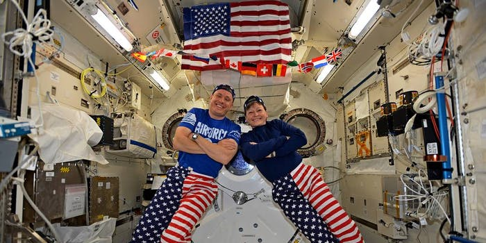 astronauts in space celebrating the 4th of july
