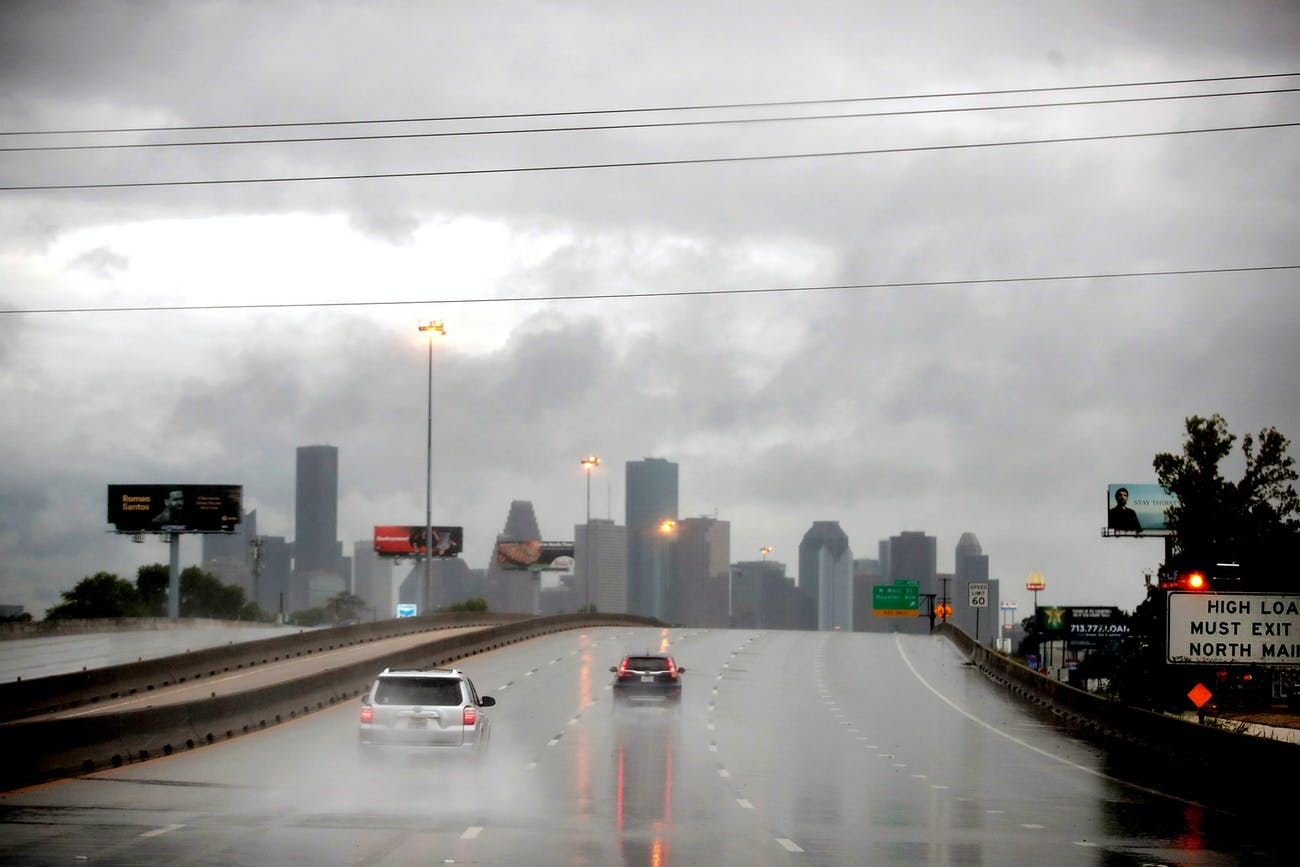Rain from Hurricane Harvey batters the downtown area on August 26, 2017 in Houston, Texas.