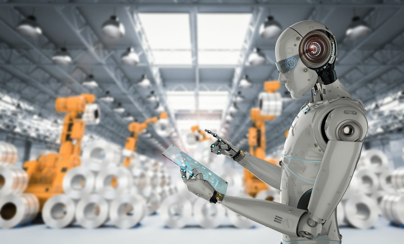 A robot working in a factory.