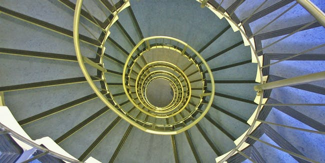 look downstairs into stairwell whirl