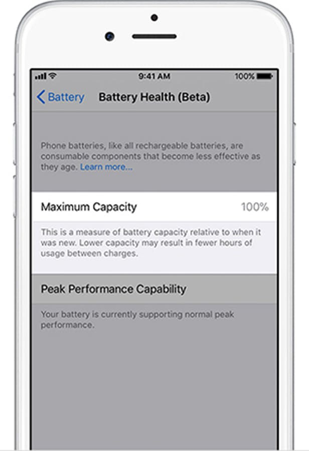 This section of the iOS 11.3 battery health indicator will tell users how much charge their phone can hold.