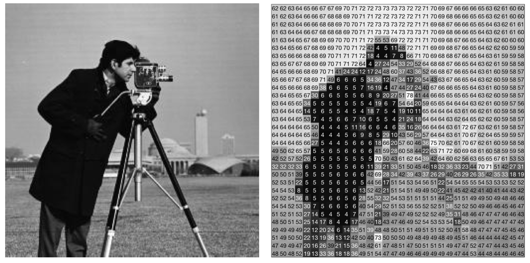 """Before and after a photo is """"encoded as an array of numbers representing color values for each pixel."""""""