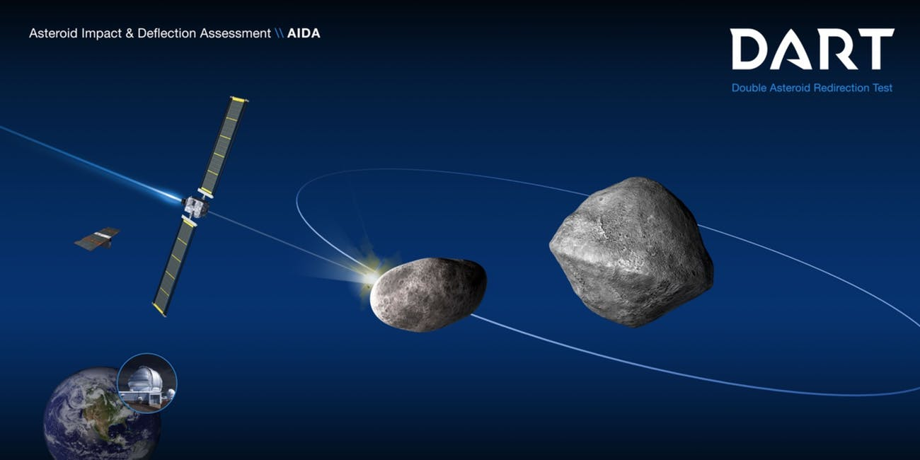 This illustration shows the impact of the spacecraft on Didymoon that will hopefully cause it to slightly shift its orbit