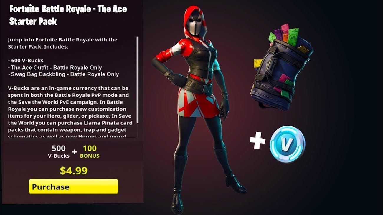 fortnite ace starter pack - fortnite rotation wars codes