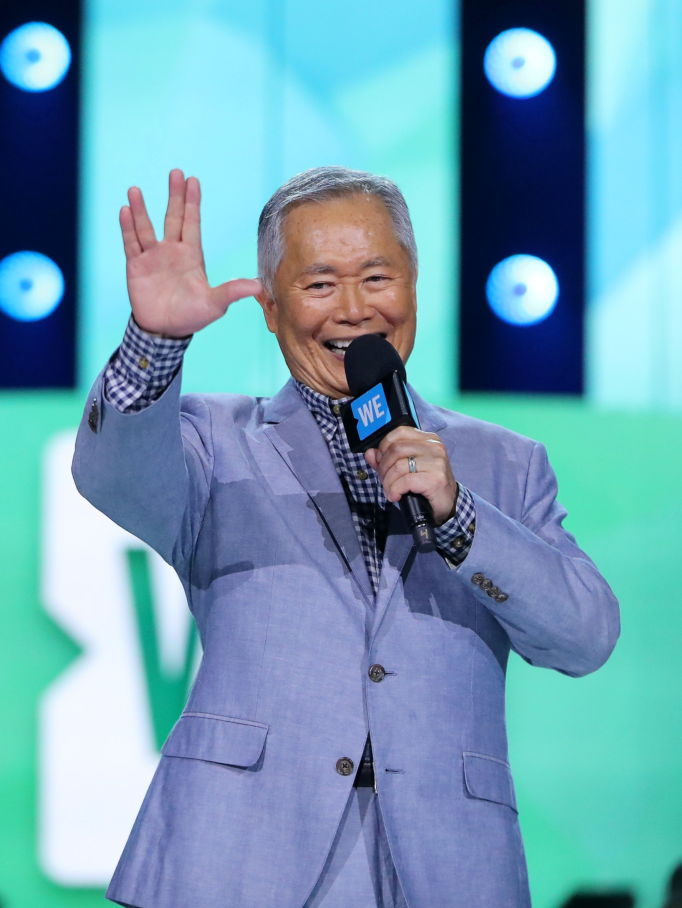 ST PAUL, MN - SEPTEMBER 20: George Takei speaks during WE Day Minnesota at Xcel Energy Center on September 20, 2016 in St Paul, Minnesota. (Photo by Adam Bettcher/Getty Images for WE)