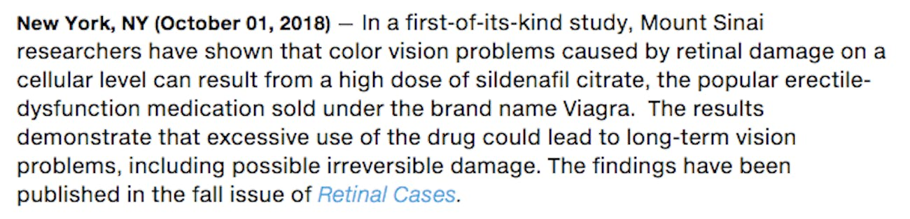 viagra doesn't cause color vision problems