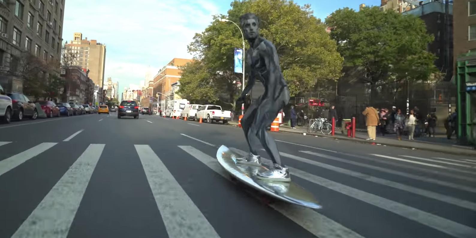 This Silver Surfer Shredding Downtown Manhattan