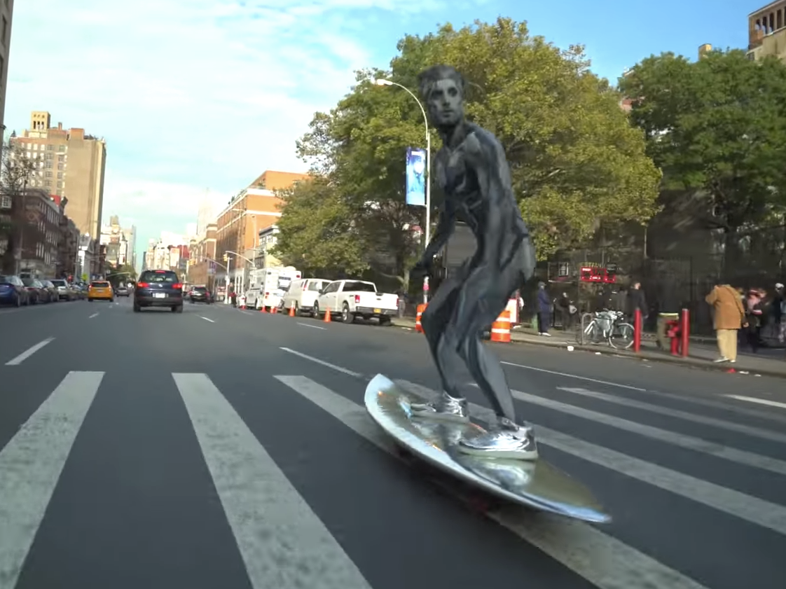 This Silver Surfer Shredding Downtown Manhattan
