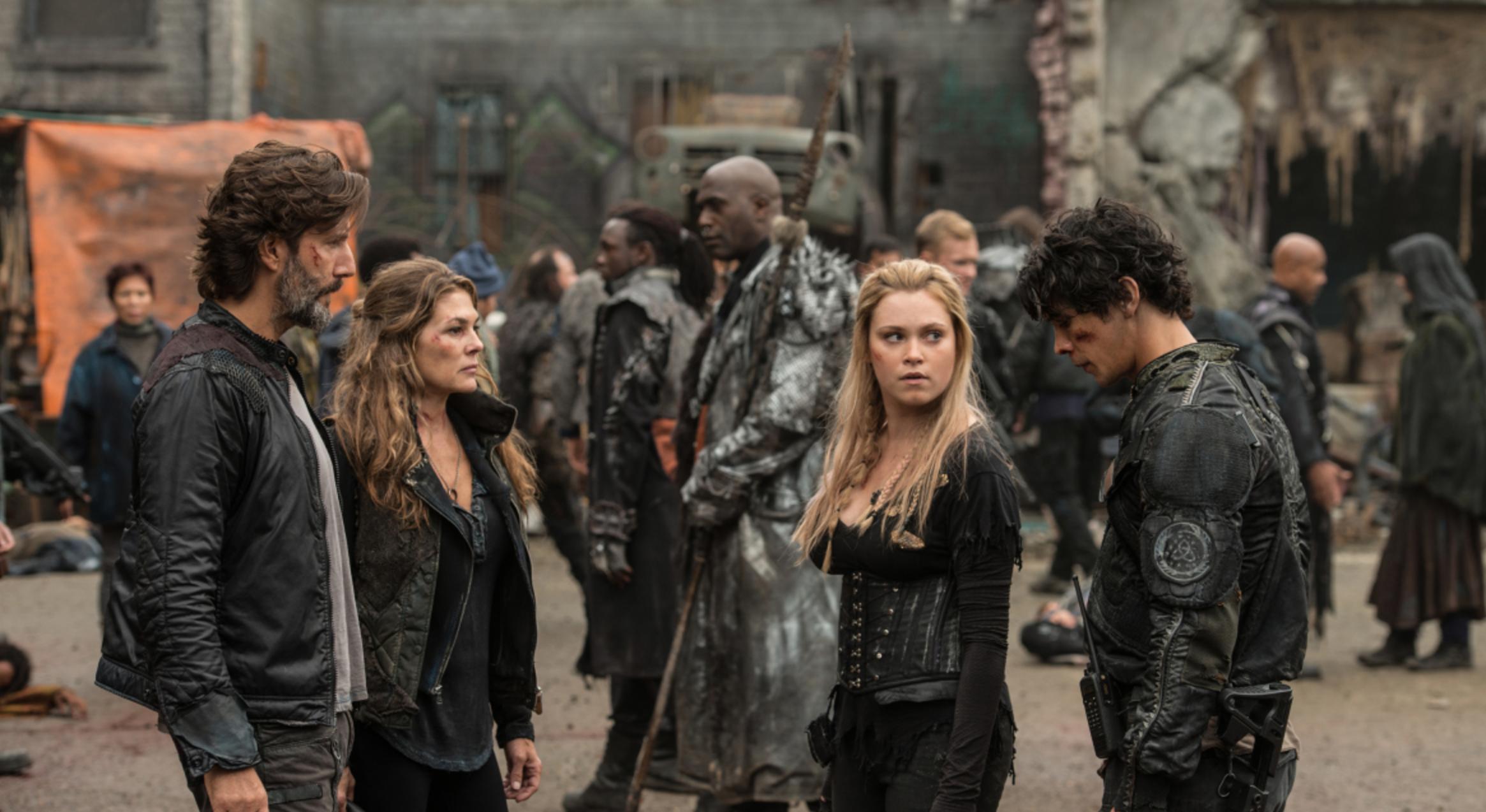 Bellarke with Abby and Kane -- newly awakened from the creepy City of Light, still in Polis where Season 3 left them.