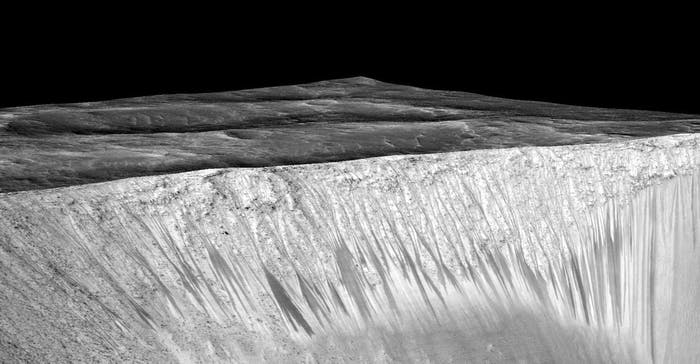 Recurring slope lineae emanating out of the walls of Garni crater on Mars.