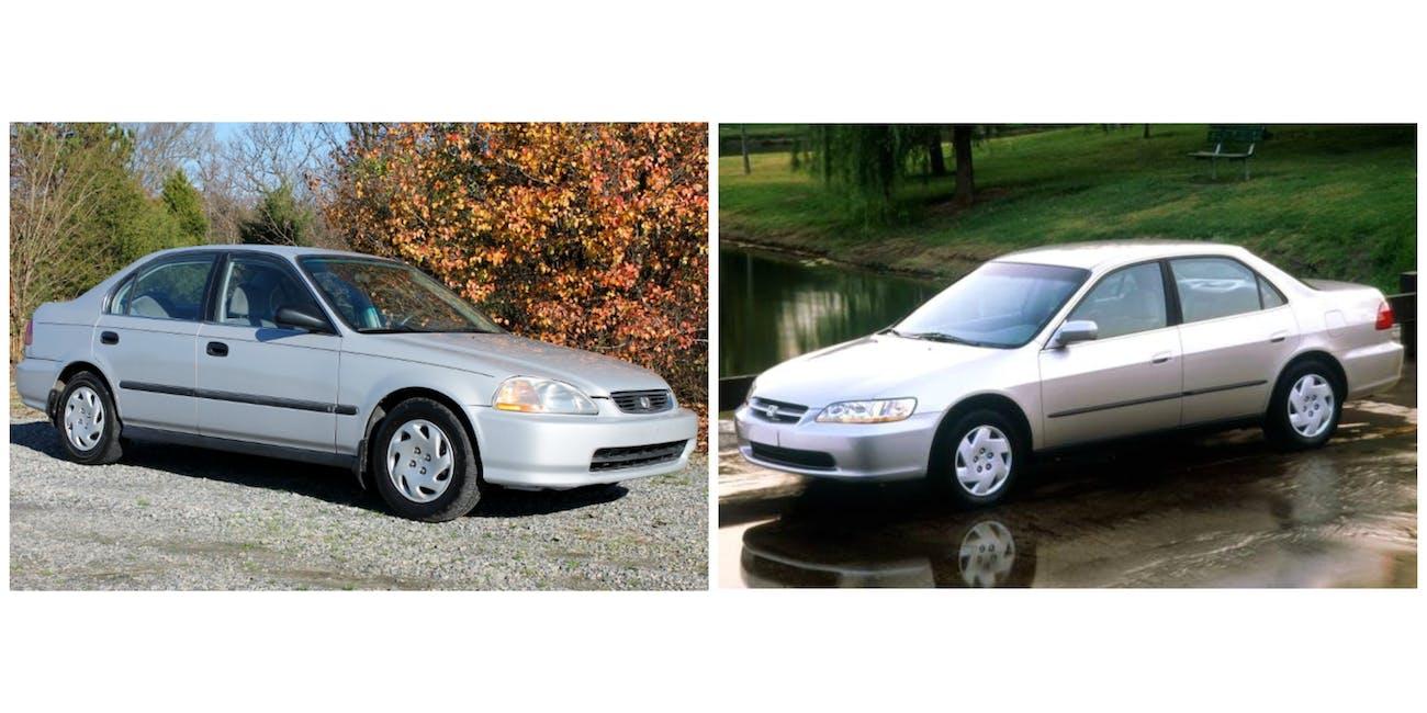 1997 Honda Civic 1998 Honda Accord most stolen cars Hot Wheels report