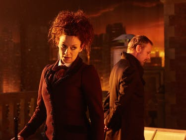 """Miss and the Master in """"The Doctor Falls."""""""