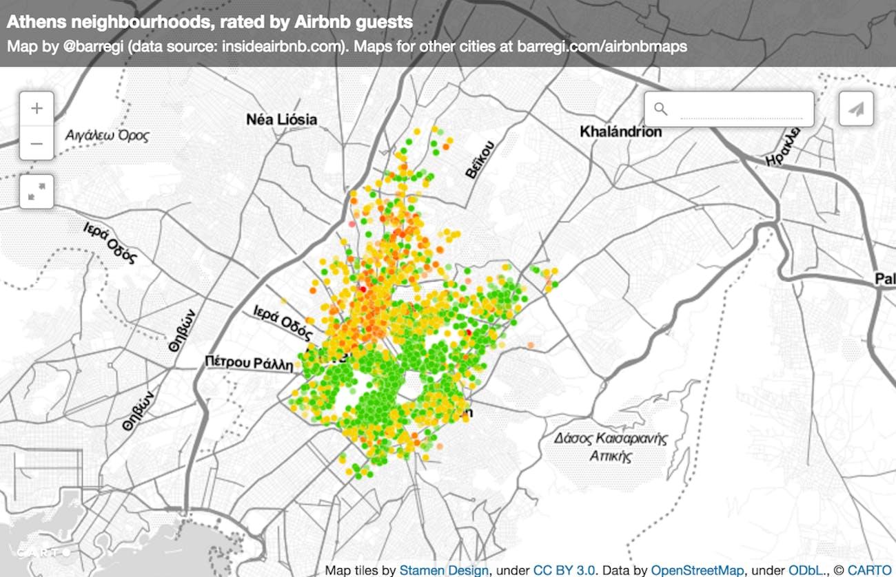 Athens Greece Airbnb data Benat Arregi wealth built environment