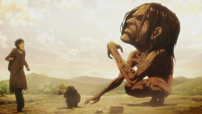 Ymir's mindless Titan form devours Marcel in front of Reiner and Bertholdt.