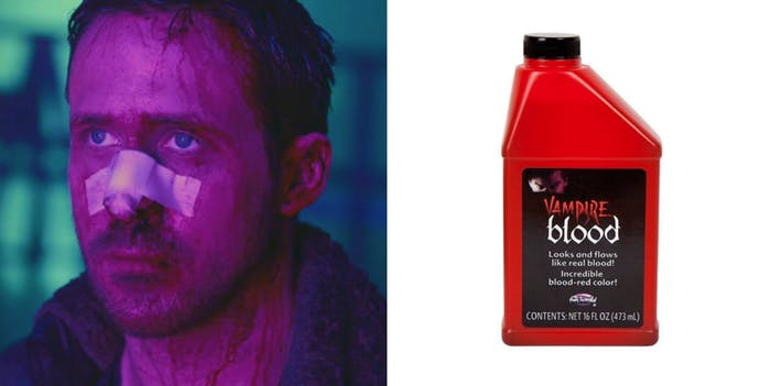 Ryan Gosling as Officer K in 'Blade Runner 2049' / Fake blood