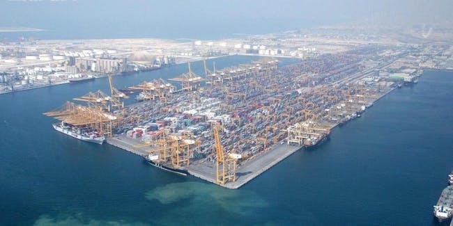 Port of Dubai Emirate, located on Jebel Ali district.
